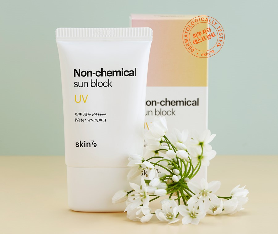 Skin79 Non Chemical Sun Block proteccion solar filtros fisicos Blueberry Cosmetics